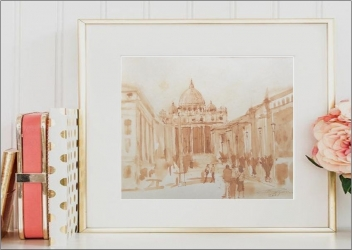 Basilica Sf. Petru - laviu semnat - LUCRARE SUPERBA