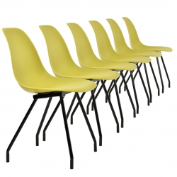 Set 6 scaune bucatarie, en.casa, 83 x 46 cm, plastic PP, galben-mustar