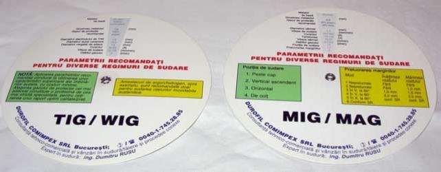 Abaca disc pentru stabilirea parametrilor la sudarea MIG/MAG + TIG/WIG