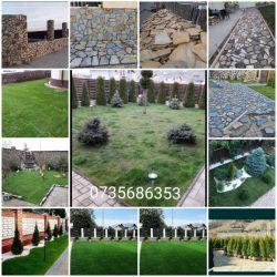 Amenajez grădini cu gazon plante ornamentale piatra de munte
