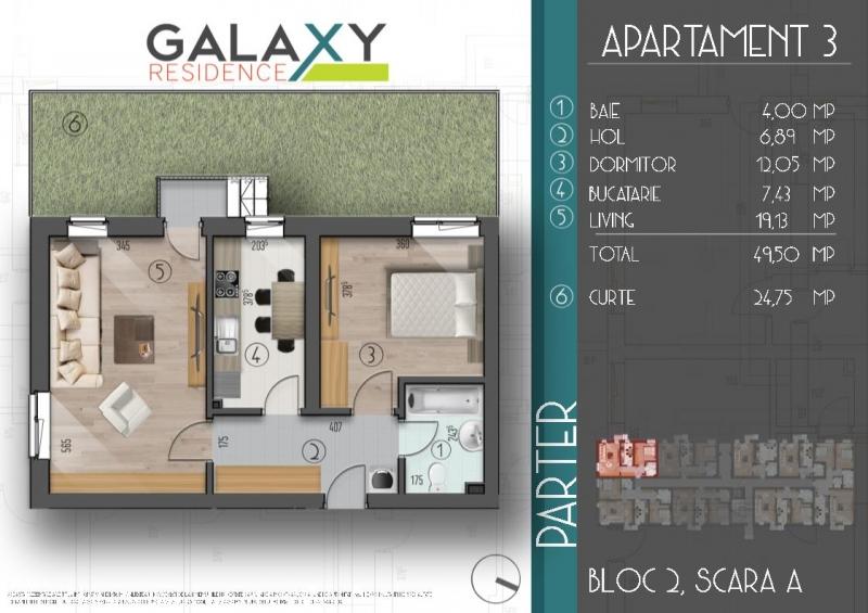 Apartament 2 camere,decomandat, bloc nou, curte-3