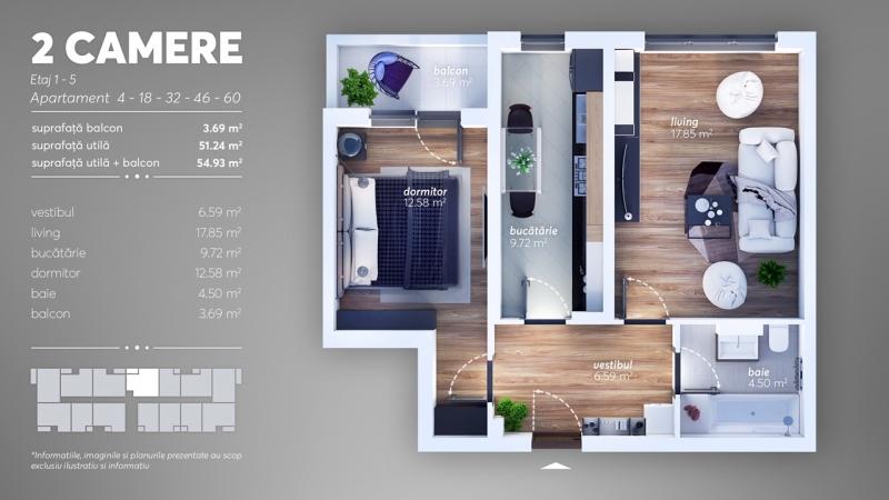Apartament 2 camere la cheie, decomandat, etaj 1, stradal,Brancoveanu-2