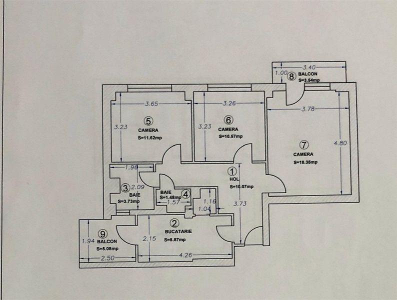 Apartament 3 camere de vanzare in Dacia - ID V15-19