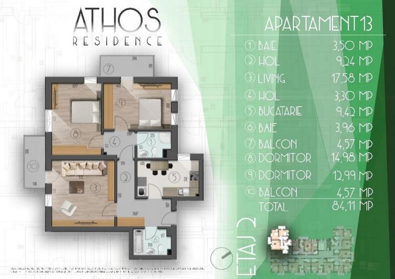 Apartament 3 camere –  etaj intermediar, 84.11 mp utili-1