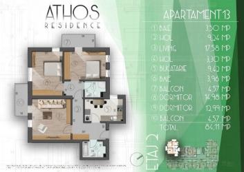 Apartament 3 camere –  etaj intermediar, 84.11 mp utili