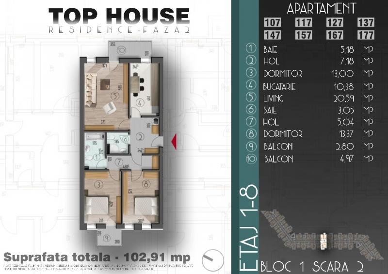 Apartament cu 3 camere la cheie, stradal la bulevard, decomandat-2