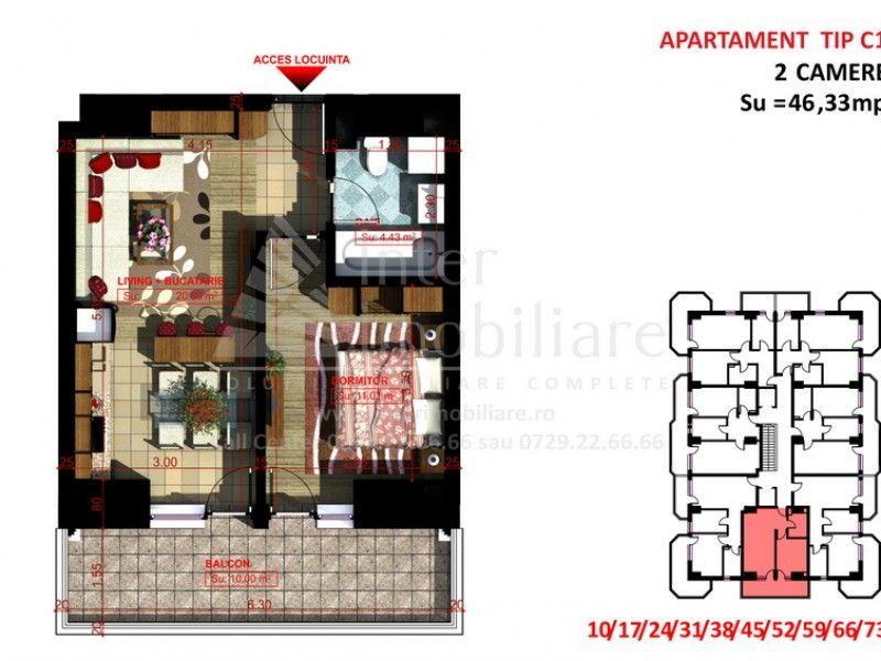 Apartament nou de vanzare, 2 camere Semidecomandat  Copou -1
