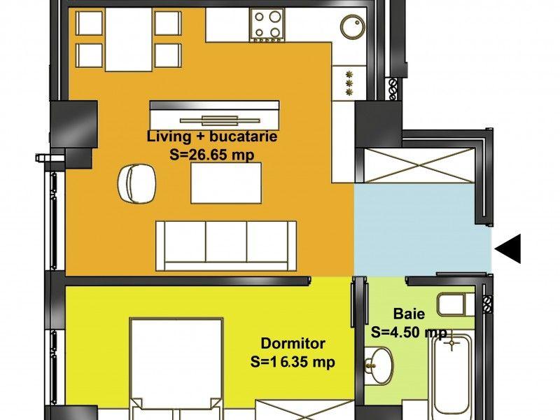Apartament nou de vanzare, 2 camere Semidecomandat  Popas Pacurari -8