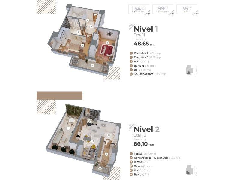 Apartament nou de vanzare, 3 camere Decomandat  Centru Civic -1