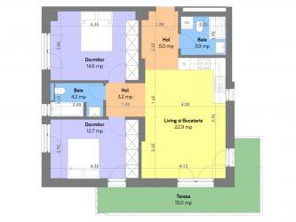 Apartament nou de vanzare, 3 camere Decomandat  Copou