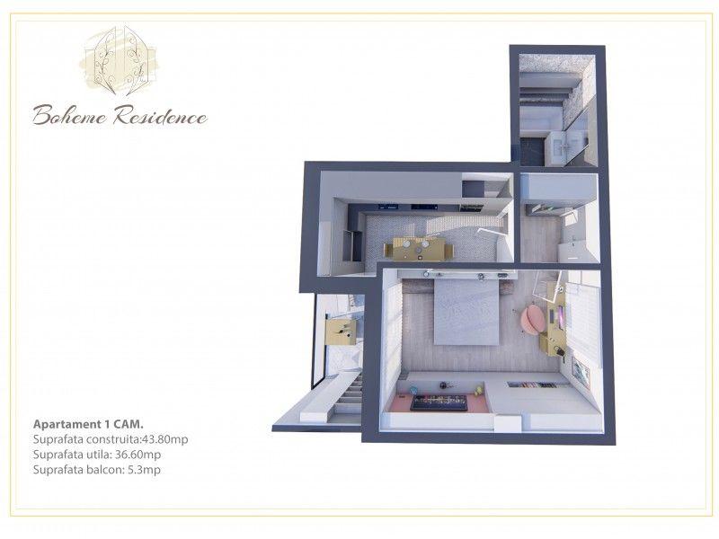 Apartament nou de vanzare, o camera Decomandat  Bucium -1