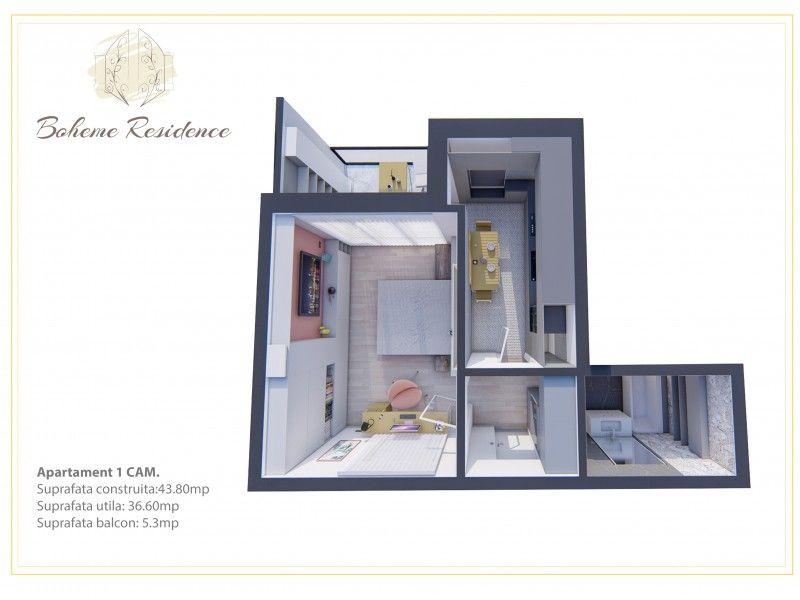 Apartament nou de vanzare, o camera Decomandat  Bucium -3