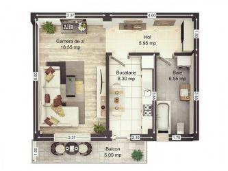 Apartament nou de vanzare, o camera Decomandat  Valea Lupului