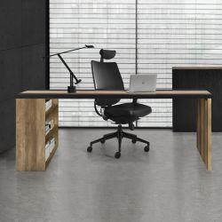 Birou - 180cm x 78cm x 77cm - blat MDF furniruit - efect lemn / negru