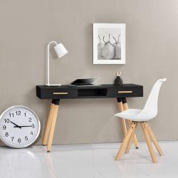 Birou design, MDF/lemn de fag, 75 X 120 X 45 cm, negru