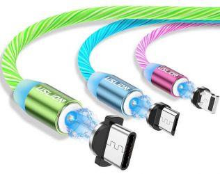 Cablu usb fast charge cu mufa magnetica 360° & full led