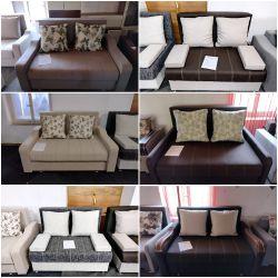 Canapea extensibila 2 persoane, cu lada depozitare: maro, gri, crem