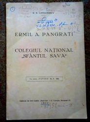 """Colegiul National 'Sf. Sava"""". Ermil A. Pangrati, 1933"""