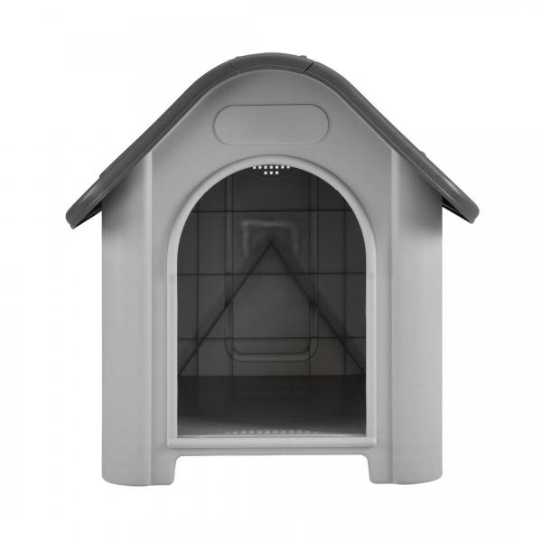 Cotet caine, PVC, 87 x 72 x 75,5 cm, gri/negru - cu trapa aerisire-1