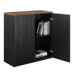 Dulap birou cu raft ART LAG08, 100 x 90 x 40 cm, MDF, negru