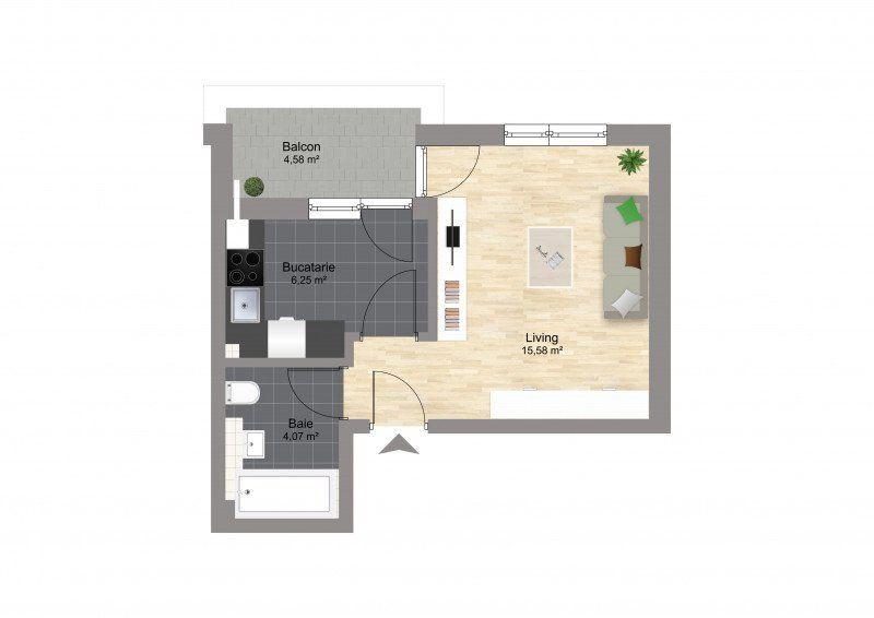 Garsoniera finalizata zona Militari Residence-4