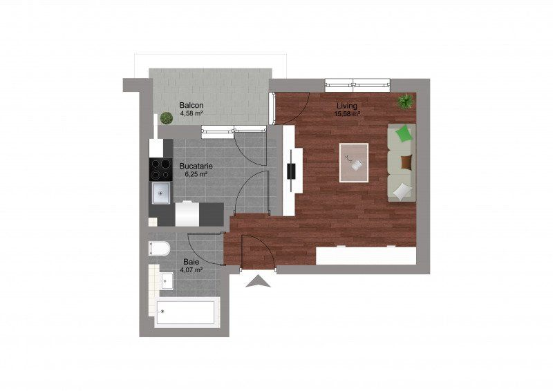 Garsoniera finalizata zona Militari Residence-5