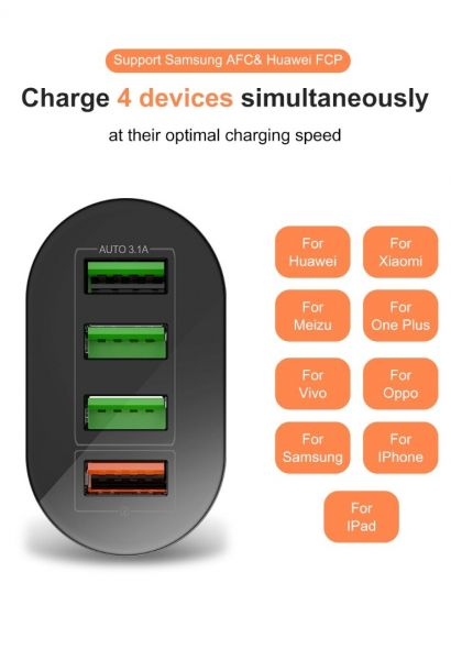 Incarcator 4x USB Incarcare Rapida 3.1A Qualcomm 3.0 cu Multiple Prote-4