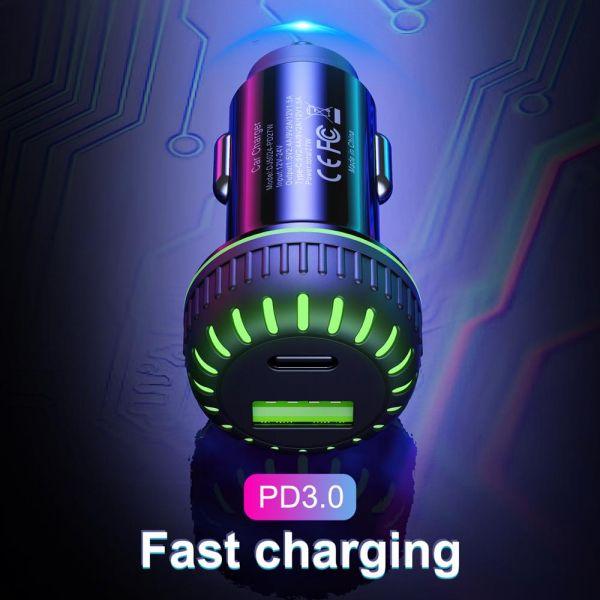 Incarcator auto usb fast charge 3.1a & led blue-3