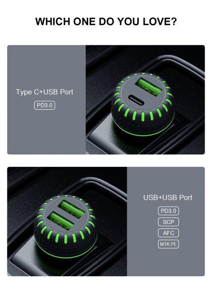 Incarcator auto usb fast charge 3.1a & led blue-5