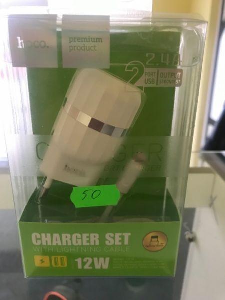 Incarcator priza 2 intrari + cablu USB iPhone -1