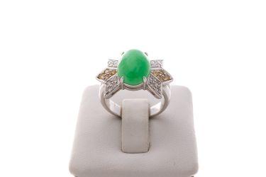 Inel cu Opal Verde si Diamante_24073