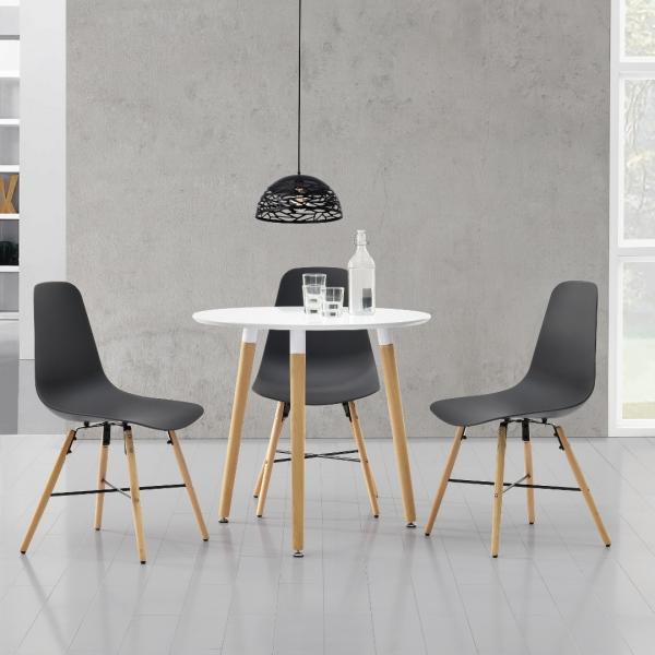 Masa bucatarie/living, design rotund cu 3 scaune - gri-1