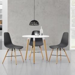Masa bucatarie/living, design rotund cu 3 scaune - gri