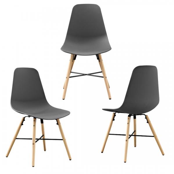 Masa bucatarie/living, design rotund cu 3 scaune - gri-4