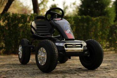 Masinuta GO Kart cu pedale de la Ford, roti Gonflabile #Negru