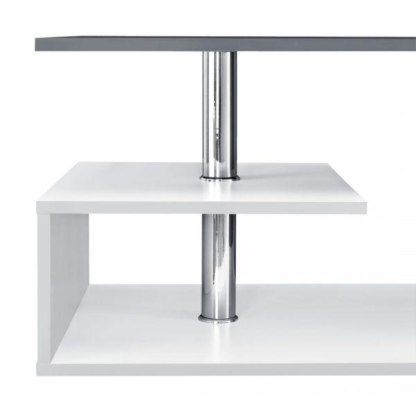 Masuta cafea Orbital, 90 x 50 x 41cm, PAL, alb/gri inchis-2