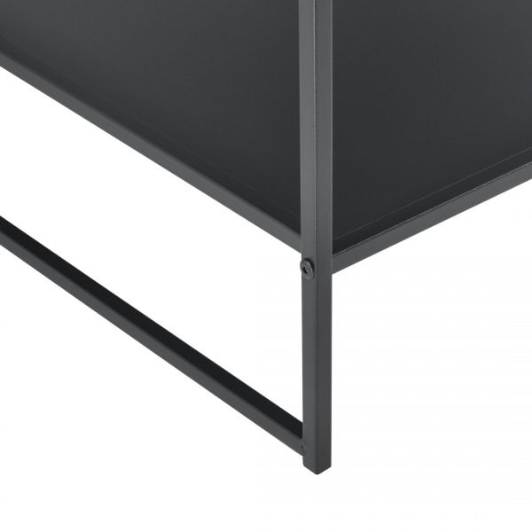 Masuta-noptiera Dona, 51 x 53 x 51 cm, metal, negru mat, cu polita -2
