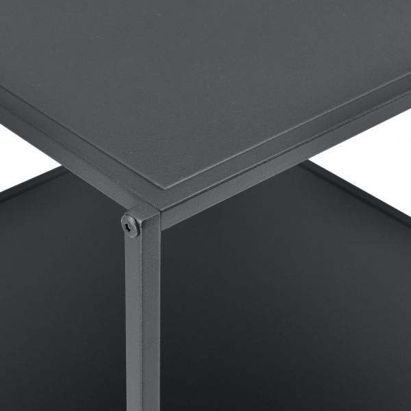 Masuta-noptiera Dona, 51 x 53 x 51 cm, metal, negru mat, cu polita -3