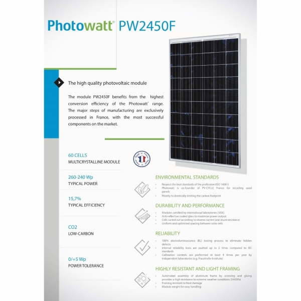 Panou fotovoltaic policristalin Photowatt 250W-3