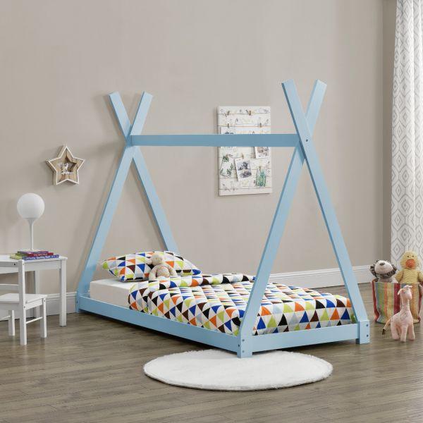 Pat copii Anando, 208 x 96 x 163 cm, lemn de brad, albastru-1