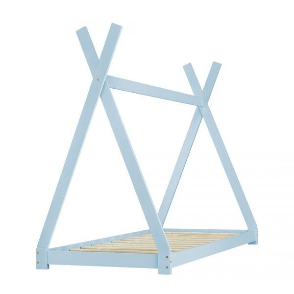 Pat copii Anando, 208 x 96 x 163 cm, lemn de brad, albastru-3