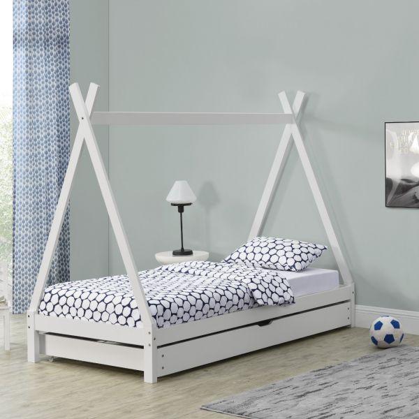 Pat copii Aris Beige, 206 x 96 x 162 cm, lemn, alb cu pat suplimentar-1
