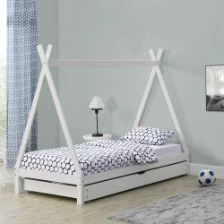 Pat copii Aris Beige, 206 x 96 x 162 cm, lemn, alb cu pat suplimentar