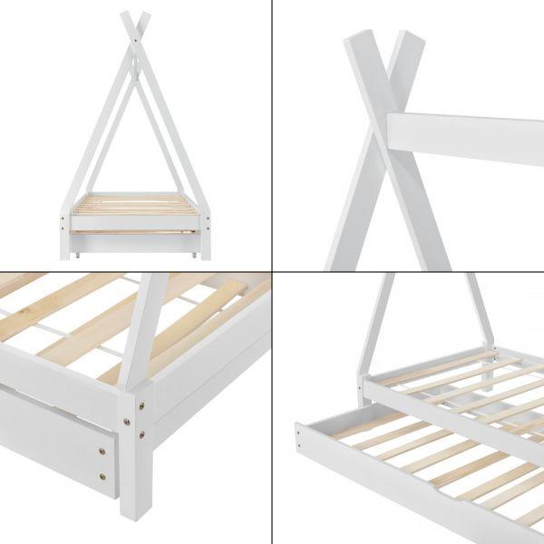 Pat copii Aris Beige, 206 x 96 x 162 cm, lemn, alb cu pat suplimentar-2
