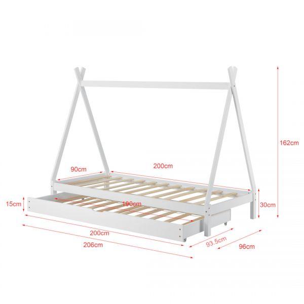 Pat copii Aris Beige, 206 x 96 x 162 cm, lemn, alb cu pat suplimentar-4