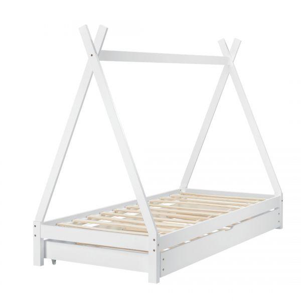 Pat copii Aris Beige, 206 x 96 x 162 cm, lemn, alb cu pat suplimentar-5