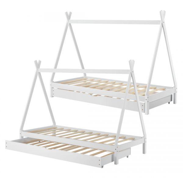 Pat copii Aris Beige, 206 x 96 x 162 cm, lemn, alb cu pat suplimentar-6