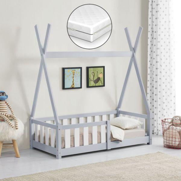 Pat copii cu saltea spuma rece Cristal, 70x140 cm, lemn de brad, gri -1