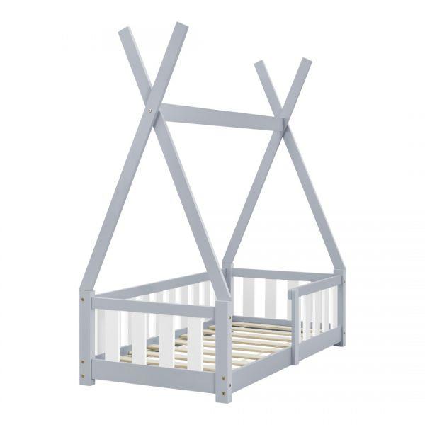 Pat copii cu saltea spuma rece Cristal, 70x140 cm, lemn de brad, gri -7
