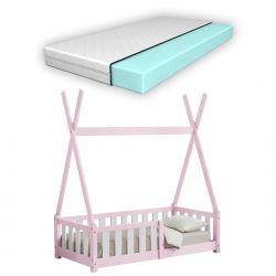 Pat copii cu saltea spuma rece Cristal, 70x140 cm, lemn de brad, roz,